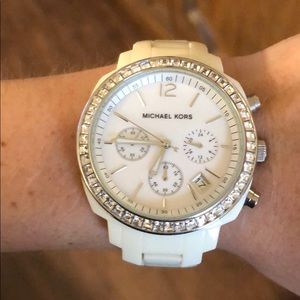 white MK watch